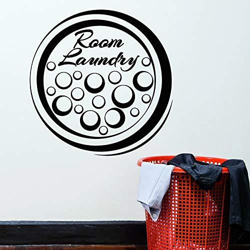 Etiqueta de la pared de la sala de lavandería Servicio de limpieza de ropa Espuma Círculo Vinilo Etiqueta de la ventana Arte Mural Decoración de interiores