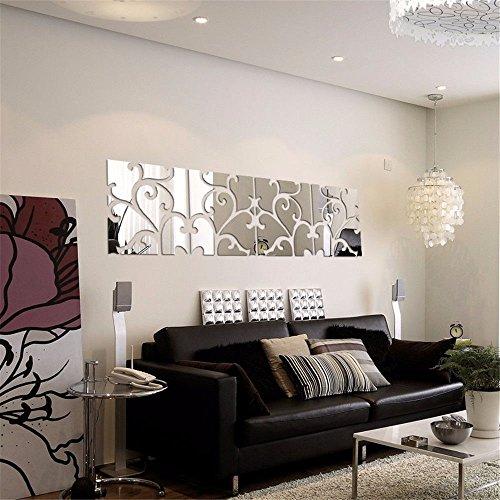 S.Twl.E muurstickers muurschildering art decor Verwijderbare waterdichte Tv combinatie spiegel muur mount, stijlvolle woonkamer decoreren ideeën muur-,30 * 30cm, vier zwart