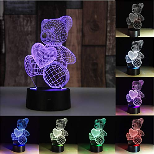 AKAHA Night Lights 3D lamp for Kids, Illusion Bedside Lamp with 7 Color Changing Touch Switch, Home Decoration Color Changeable Lamp, Best Gift for Women Boys Girls Bedroom Birthday -Teddy Bear