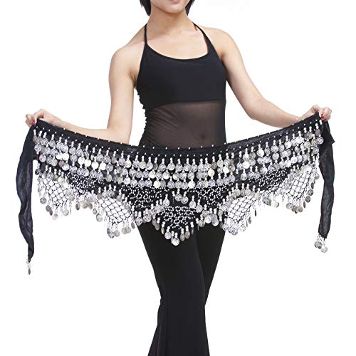 Saymequeen Belly Dancing Dance Waist Chain Hip Scarf Skirt Belt with 320 Coins (Black & Silver Coins)