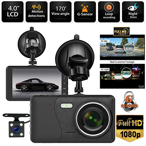 Sixcup® 4 Zoll HD-Bildschirm 1080P Doppelobjektiv Auto Armaturenbrett 170 ° Hochauflösender Weitwinkel DVR Video Recorder Dash Cam + Rückfahrkamera (Black)