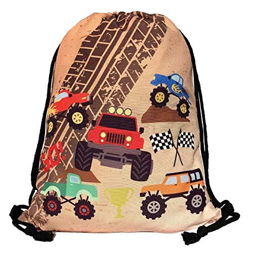 HECKBO Mochila niños - estampada (por ambos lados) con dibujos de Monster Trucks - lavable a máquina - 40 x 32cm - para el jardín de infancia, la guardería, para viajar, o para hacer deporte