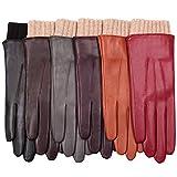 WARMEN Women's Winter Warm Hairsheep Leather Gloves Touchscreen Texting Cashmere/wool Blend Lining (7.5 (Large), Black)