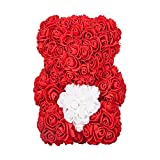 Rose Bear - Valentine's Mother's Day Anniversary Wedding Best Perfect Unique Heart Teddy Thanksgiving Bear Gifts for Women Mom Women Men Wife Him Her Son Daughter Birthday 25cm Red Handmade