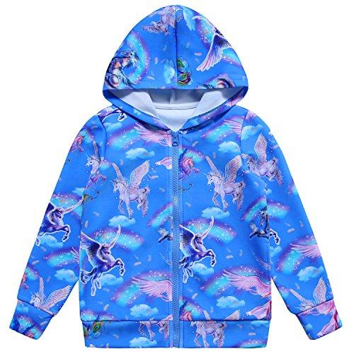 Jxstar Girls Hoodie Bomber Jacket Blue Sky Unicorn Print Long Sleeve Full Zip Pocket Coat Outwear Sky Unicorn 160
