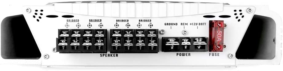 Upgraded Elite Series 3000 Watt 8 Channel Bridgeable Amp Tri-Mode Configurable Pyle Hydra Marine Amplifier GAIN Level Controls and RCA Stereo Input MOSFET Power Supply Waterproof PLMRA820