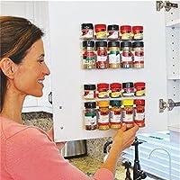 Ducomi® - Especiero ahorra espacio, con pinzas adhesivas para puertas, paredes o estanterías. Dimensiones:25x 2,5x 4cm–4soportes para 20especias.
