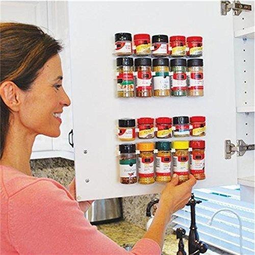 Ducomi Speziale - Gewürzständer, platzsparend, mit Klebestreifen für Küchenschränke, Wand oder Regal - Maße: 25 x 2,5 x 4 cm - 4 Halterungen für 20 Gewürze. M02