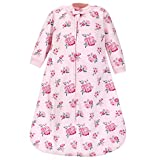 Hudson Baby Unisex Baby Premium Quilted Long Sleeve Sleeping Bag and Wearable Blanket, Pink Navy Floral, 12-18 Months