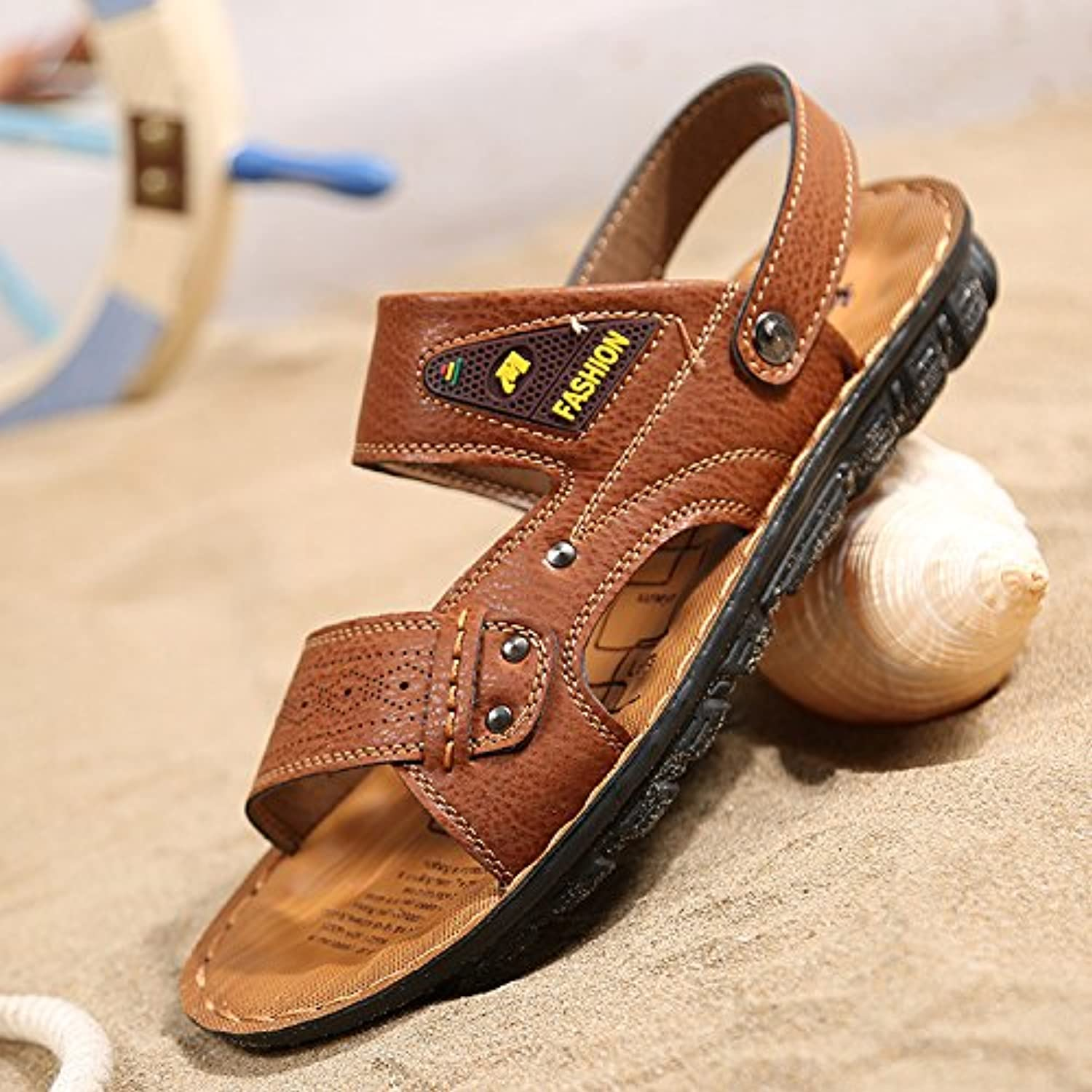 Men's sandals, leather sandals, young summer slippers,Fortythree,brown