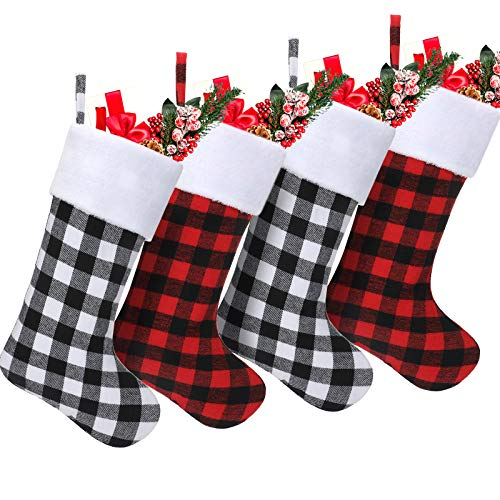 18 Inch Christmas Stockings Plaid Stocking Faux Fur Cuff Stocking Fireplace Hanging Stockings for Family Holiday Xmas Party (Black White, Black Red,4 Pieces)