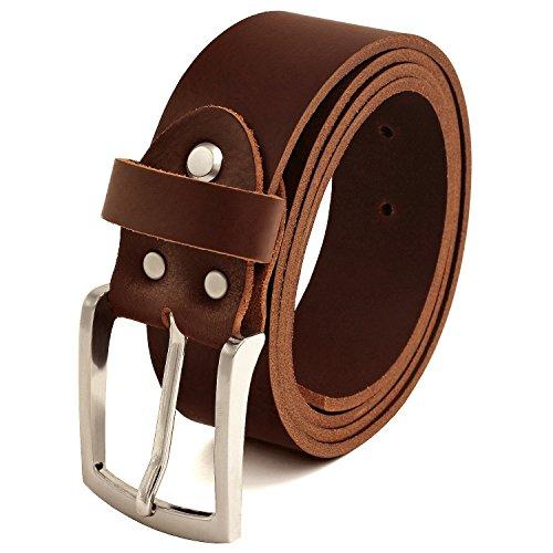 Fa.Volmer ® Gürtel Herren Ledergürtel aus Büffelleder für Männer Jeans Echtleder Braun 38mm breit kürzbar #Br007-02 (Bundweite 100cm)