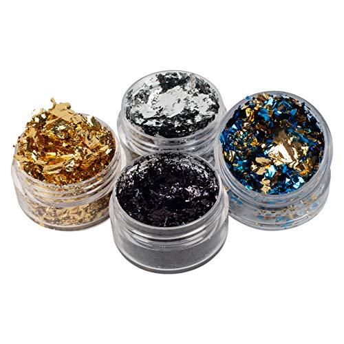 YongBo Frascos de imitación de plato: oro azul, B dorado, negro y plateado. 4 tipos de copos metálicos para dorados, proyectos de arte y decoraciones artesanales. Un total de 4 botellas
