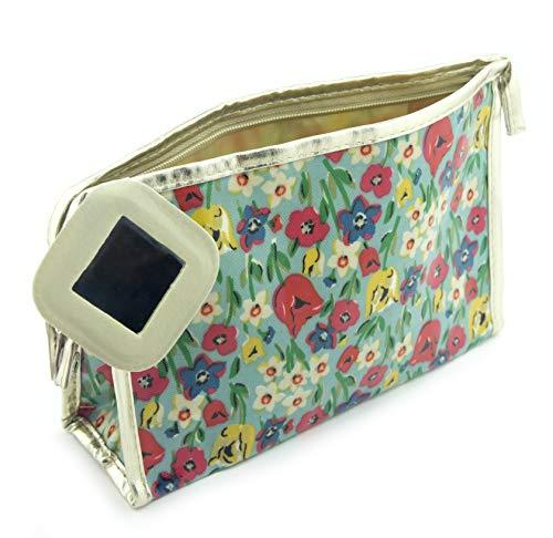 HAND Main ® Champ de Fleur Bleu et Gold Edge étui à Crayon étanche/Trousse de Maquillage avec miroir-230 x 173 mm