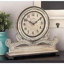 16x15 Antique Mahogany Mantle Clock Indoor Use, Grey Distressed White Finish Timepiece Art, Farmhouse Rustic Livingroom Fireplace Table Clock Decor Cream Ivory, Wood