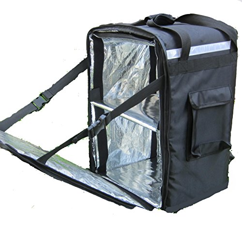 """PK-86Z: Food Delivery Bag, 16"""" L x 13"""" W x 18"""" H, Extra Large Heavy Duty Pizza Delivery Backpack, Fresh Hot Delivery Bag, Restaurant Box for Scooter, Warmer Big Pizza Delivery Bag, Matte Waterproof"""