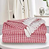 GLAMBURG 100% Cotton Throw Blanket for Couch Sofa Bed Beach Outdoor 50x60, Cotton Throws Blanket for Adults and Kids, All Season Waffle Weave Farmhouse Throw Blanket Red