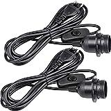 WEKON 2 PCS E27 Lampenfassung mit Schalter, E27 Fassung Schwarz mit 3.5m Netzkabel Schraubring Schalter, Lampenaufhängung Pendelleuchte Hängeleuchte