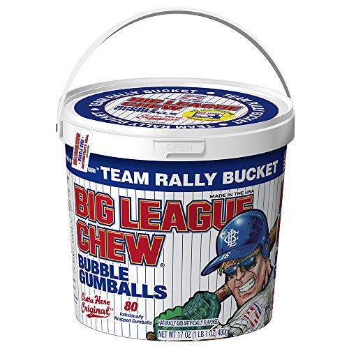 Big League Chew - Original Bubble Gum Flavor + 80pcs Individually Wrapped Gumballs + Baseball Dugout Team Rally Bucket + Perfect for Games, Concession Stands, Picnics and Parties