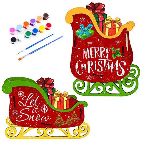Kit de Decoración de Madera Navideña, 2 Juegos de Bricolaje, kit de decoración de trineo navideño con pintura y pincel, adornos de madera para manualidades para niños, suministros para fiestas