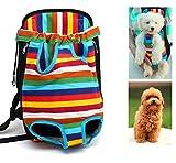 Xiaoyu mochila porta mascotas, ajustable, sin manos, con las piernas abiertas y transpirable mochila portadora delantera de gato perro, Multicolor, S