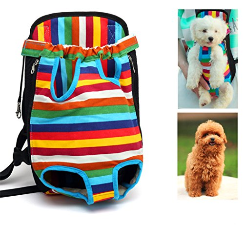 Xiaoyu Pet Carrier hundetasche Träger Bag Haustier Transporttasche Brust Backpack Reise Tragbar Puppy Atmungsaktive Durable-Beine heraus Bag Haustier Hunde Katzen Tragetasche, mehrfarbig, L