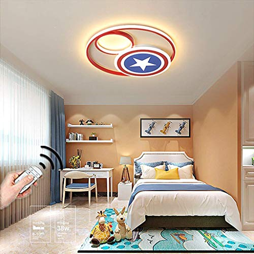 XiYou Ceiling Lamp Dimmable Remote Control Ceiling Light LED Kids Room Creative Bedroom Living Room Dining Girl Room Boy Room Lighting Captain America Wall Lamp Round Metal, 36W