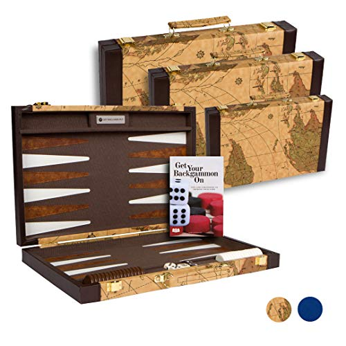 Get The Games Out Top Backgammon Set - Classic Board Game Case - Best Strategy & Tip Guide - Available in Small, Medium and Large Sizes (Map, Medium)