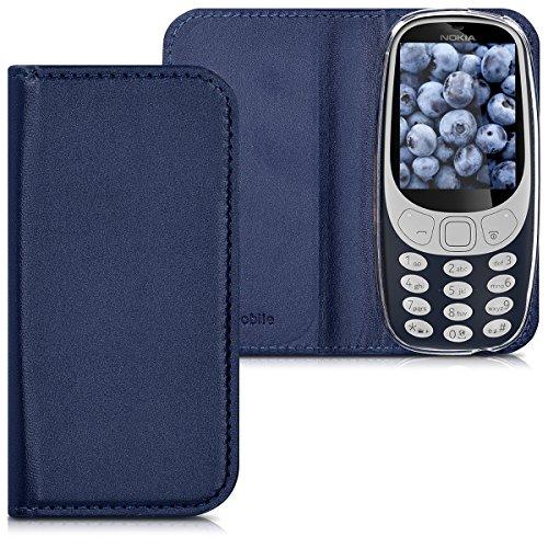 kwmobile Hülle für Nokia 3310 (2017) - Flipcover Case Handy Schutzhülle Kunstleder - Bookstyle Flip Cover Dunkelblau