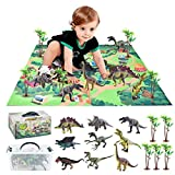 TANSAR Dinosaur Toys 3D Educational Realistic Dinosaur playset, Activity Play Mat to Create a Dino World Including T-Rex, Triceratops, Velociraptor, for Kids, Boys and Girls