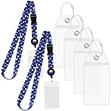 Carnival Cruise Luggage Tag Holders [4 Pack] & Cruise Lanyard Set [2 Pack] Large Tag Holders for your Cruise Ship Luggage eTags [2020 & 2021] Clear, Plastic & Waterproof (Cruise Lanyards Blue)