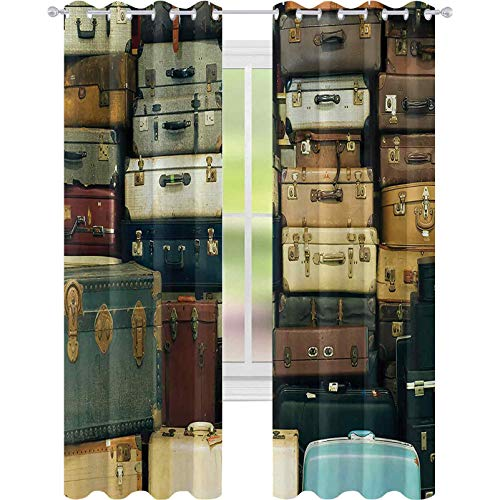 Cortina de aislamiento oscurecida con ojales, colorida maleta de piel envejecida, decorativa de viaje, mapa, nostalgia, 52 x 63, para sala de estar, marrón, crema, verde