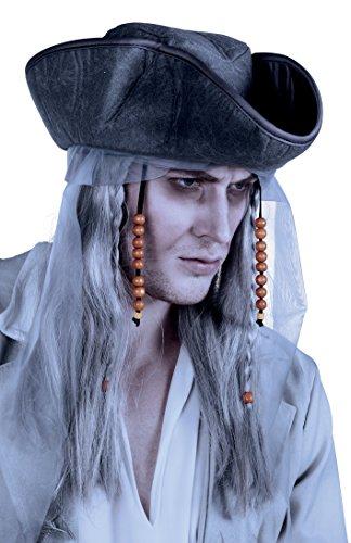 Boland- Parrucca Pirata Fantasma con Cappello per Adulti, Grigio, Taglia Unica, 85726