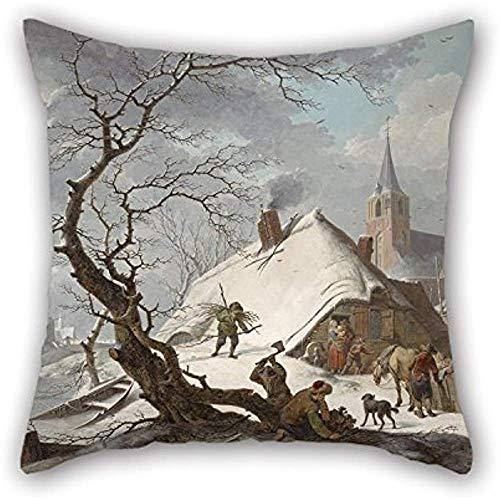 Ölgemälde Hendrik Meyer - Eine Winterszene Kissenbezug, jede Seite Ornament und Geschenk an Büro, Salon, Erwachsene, Verwandte, Bf, Couch