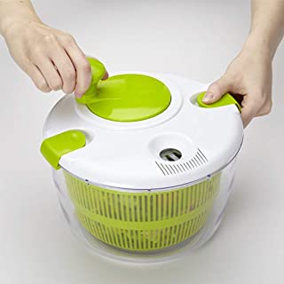 YChoice365 Centrifugadora Para Ensaladas Pequeña Con Recipiente Transparente Y Canasta Coladora Y Tapa Smart-lock Secadora Multifuncional Para Verduras Centrifugadora Manual Deshidratadora De Frutas
