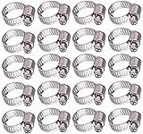 20 pezzi Giunto tubo flessibile clip regolabile, gamma regolabile 10-16 mm, Fascette Stringitubo in Acciaio Iossidabile, acciaio inox fascetta morsetto