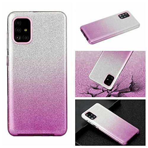 Nadoli für Samsung Galaxy A51 Gradient Glitzer Hülle,3 Schicht Glänzende Stoßfest Silikon Stoßdämpfung Transparent Hart Hybride Dünn Glitzer Schutzhülle Handyhülle