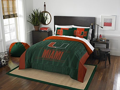 Miami Hurricanes Full Comforter and Sham Set, Full/Queen