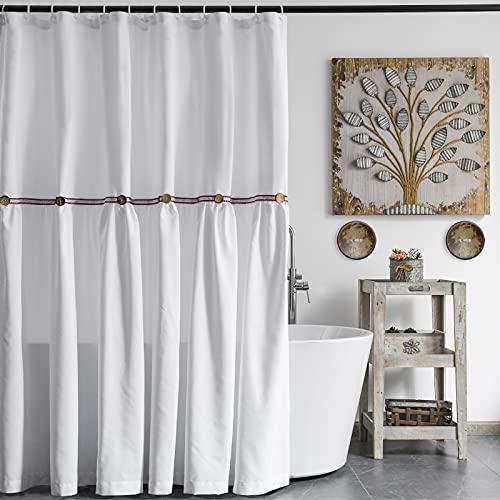 Alimumu Landhaus-Duschvorhang mit Knöpfen, Boho-Band, dekorativ, weiß, Duschvorhänge für Badezimmer, 183 x 183 cm