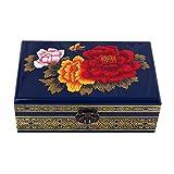 ALIANG Caja de Almacenamiento China de Madera, tocador, joyero de Laca, Azul Zafiro Pintado