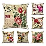 Tebery Juego de 6 fundas de cojín de lino y algodón con diseño de flores vintage para sofá, 45,7 x 45,7 cm