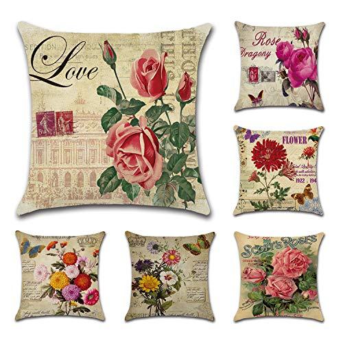 Lawei 6er Set Kissenbezug Quadratisch Vintage Blumenmuster Kissenhülle Baumwolle für Seitenschläferkissen Nackenkissen Sofa Auto Terrasse - 45 x 45 cm