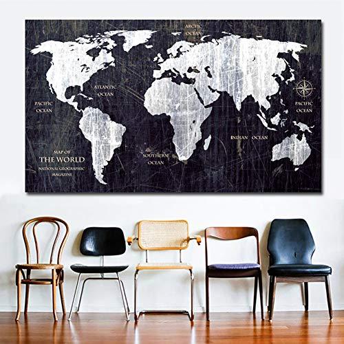 suhang Vintage Hd wereldkaart canvas schilderij print poster muurschildering geen lijst Home Decor voor woonkamer 30X50CM NO FRAME ongeframed.