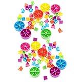 Gazechimp 84 Pedazos de Trivial Pursuit Juego Piezas Pie Wedges para Matemáticas Fracciones Multicolor