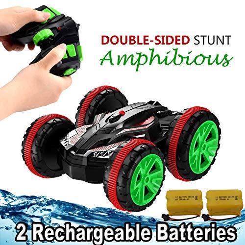 SZJJX Stunt-Amphibienfahrzeug, Spielzeug, 2,4 GHz, mit Allradantrieb, doppelseitig, elektrisch, für Garten, mit 6 Kanal-Fernbedienung, kann Sich an Land und im Wasser um bis zu 360 Grad drehen