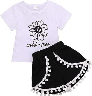 Nunique Conjunto de 2 Pantalones Cortos de Verano sin Mangas para niños y niñas con diseño Floral y borlas