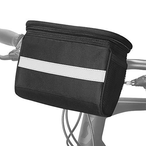 SZSMD Fahrrad Lenkertasche, 2L Fahrradtasche Lenker mit Reflektorstreifen Transparentem PVC Touchscreen für MTB/Fahrrad Karte Telefon Wasserflasche