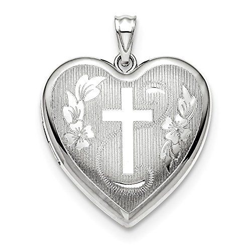 925 Sterling Silver 24mm Cross Religious Ash Holder Heart Photo Pendant Charm Locket Chain Necklace That Holds Pictures Fine Jewelry For Women Gifts For Her