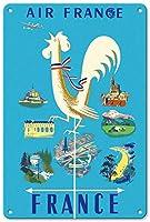 エールフレンチ メタルポスター壁画ショップ看板ショップ看板表示板金属板ブリキ看板情報防水装飾レストラン日本食料品店カフェ旅行用品誕生日新年クリスマスパーティーギフト