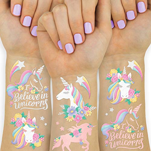 xo, Fetti Unicorn Party Favors - Temporary Tattoos for Kids - 26 styles   Birthday Party Supplies, Unicorn Favors Decorations, Toys + Halloween Costume